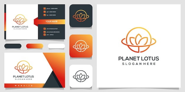 Planeta abstrato e logotipo da flor rosa e cartão de visita