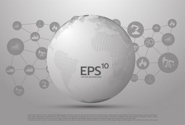 Planeta abstrato, pontos, representando o significado global, internacional