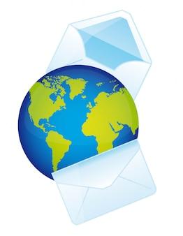 Planeta com envelope sobre ilustração vetorial de fundo branco