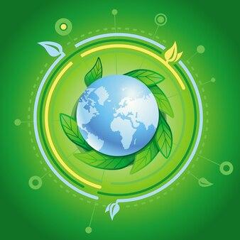 Planeta com folhas verdes