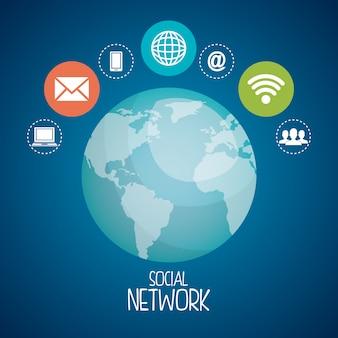 Planeta com ícones de redes sociais