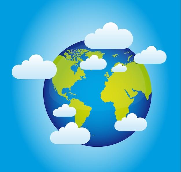 Planeta com nuvens sobre azul