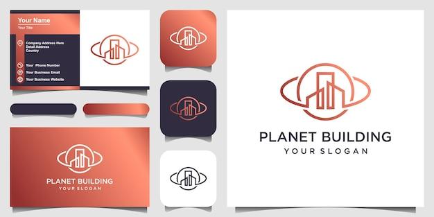 Planeta construindo conceito de logotipo criativo e design de cartão de visita