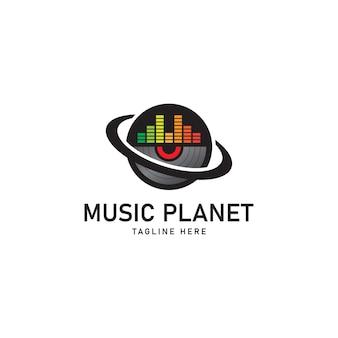 Planeta da música modelo de logotipo emblema símbolo de sinal