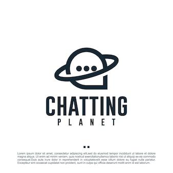 Planeta de bate-papo, comunicação, inspiração para o design de logotipo