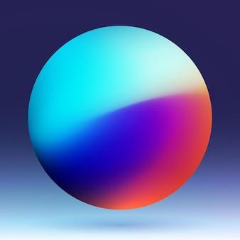 Planeta de cor no corpo cósmico escuro projeto de bola colorida objeto de esfera transbordamento multicolor