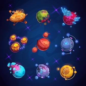 Planeta de fantasia dos desenhos animados. planetas alienígenas fantásticos. elementos de jogo do mundo espacial