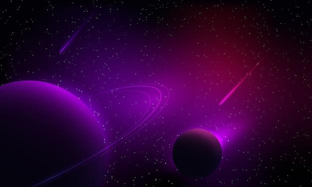 Planeta de fantasia e cometa com estrela e nebulosa colorida no fundo usam para pano de fundo ou ilustração