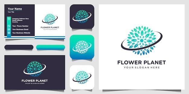Planeta de natureza com logotipo de estilo de arte de linha e design de cartão de visita.