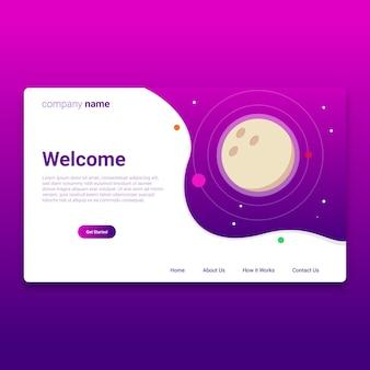 Planeta de página de desembarque com design de modelo de cor roxa