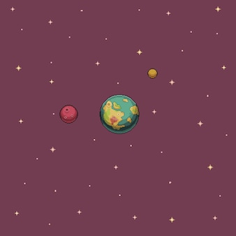 Planeta de papel de parede de pixel art e estrelas no fundo do jogo de 8 bits do espaço