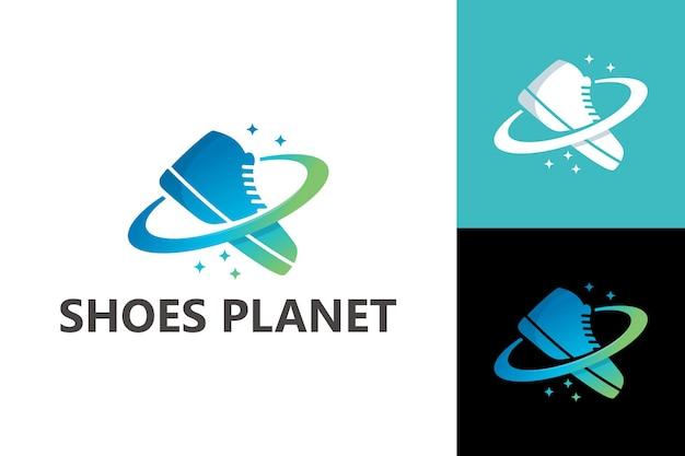 Planeta de sapatos, vetor premium de modelo de logotipo de loja de calçados