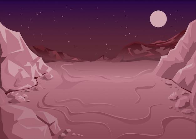Planeta desabitado no espaço, noite marciana