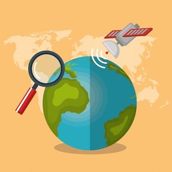 Planeta do mundo com ícones de navegação gps