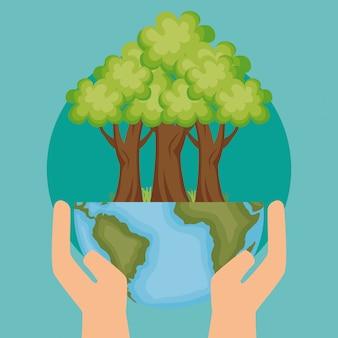 Planeta do mundo com o ícone de ecologia de árvore