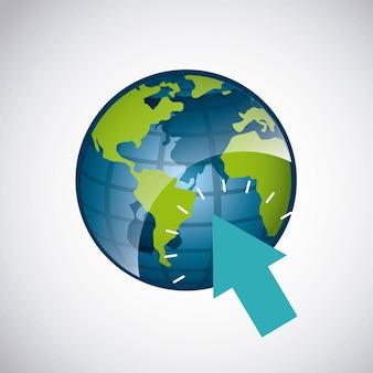 Planeta do mundo com o ponteiro de seta