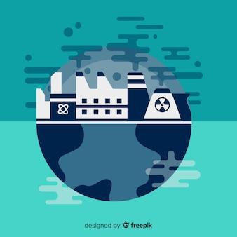 Planeta doente com indústrias e fumos