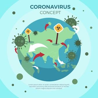 Planeta doente de conceito de coronavírus