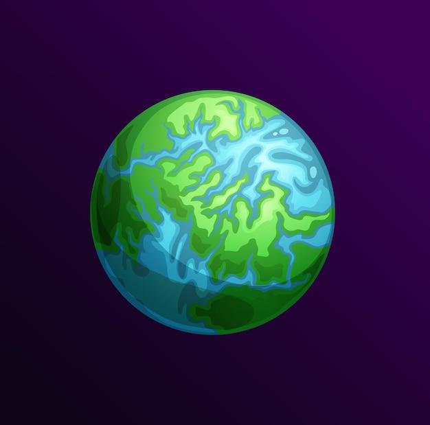 Planeta dos desenhos animados com continentes, mares e oceanos