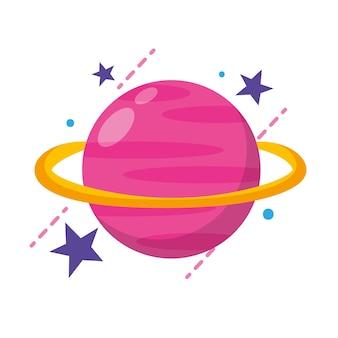 Planeta dos desenhos animados do ícone de saturno isolado sobre o fundo branco. ilustração vetorial