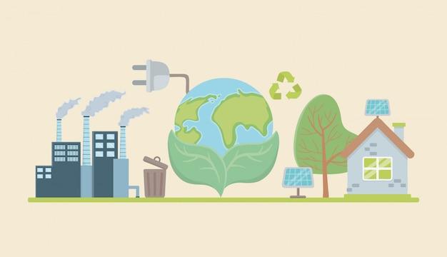 Planeta e salvar o projeto de elementos de energia