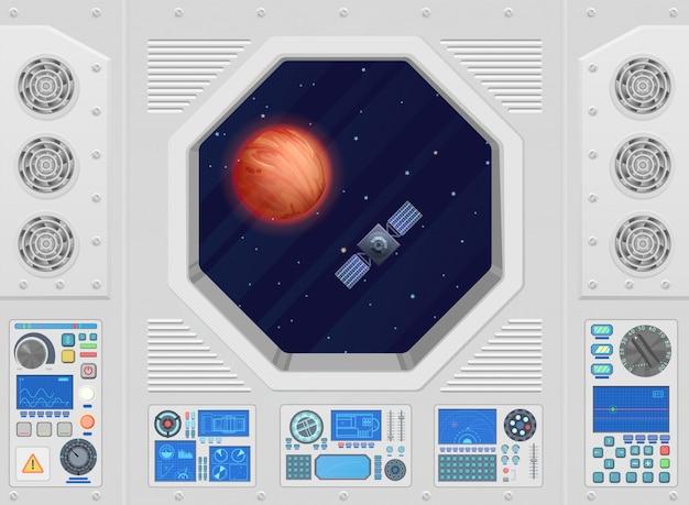 Planeta e satélite através da janela moderna nave espacial com equipamento técnico.