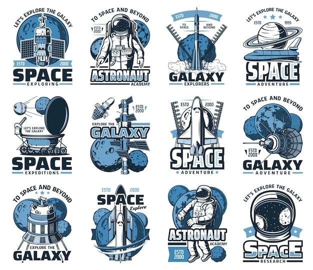 Planeta espacial, astronauta e ícones de foguetes da galáxia e do universo viajam
