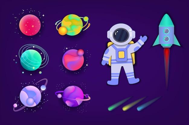 Planeta espacial colorido com desenho de astronauta e foguete isolado em fundo escuro