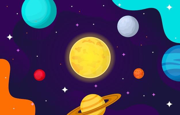 Planeta estrela sol lua espaço plana