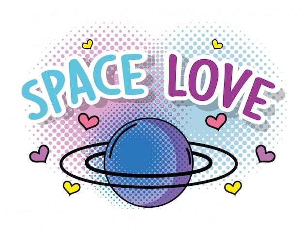 Planeta fofo com corações para espaço amor