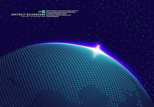 Planeta globo terra espaço com raios azuis