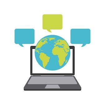 Planeta laptop e ícone de bolha