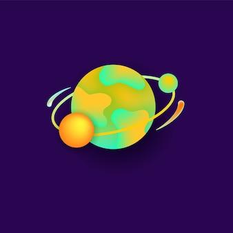 Planeta no espaço para um design plano de astronomia do universo.
