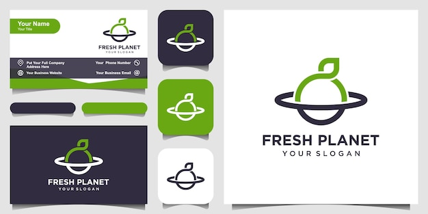 Planeta novo com logotipo de estilo de arte de linha e design de cartão de visita