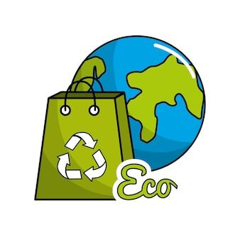 Planeta reciclagem ícone estoque
