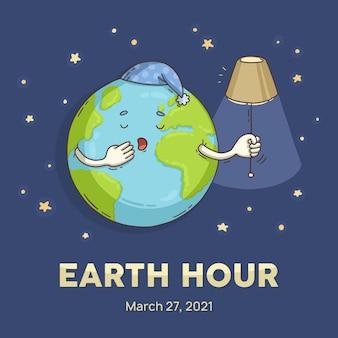 Planeta sonolento da hora da terra desenhado à mão