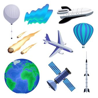 Planeta terra atmosfera luminosa luz do norte aurora fenômeno meteoróides balão de ar quente avião nave espacial conjunto colorido