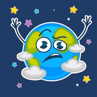 Planeta terra com cara confusa entre estrelas e nuvens