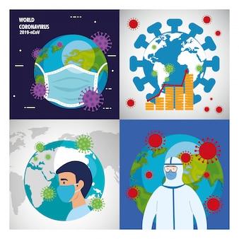 Planeta terra com covid19 partículas conjunto de ícones
