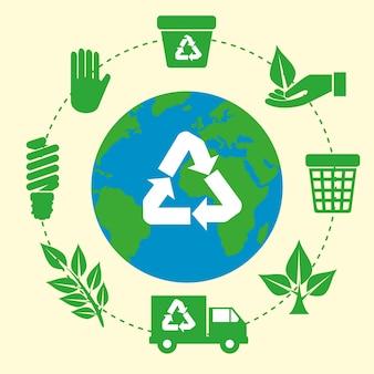 Planeta terra com sinal de reciclar ecologia