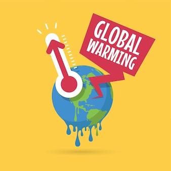 Planeta terra com termômetro