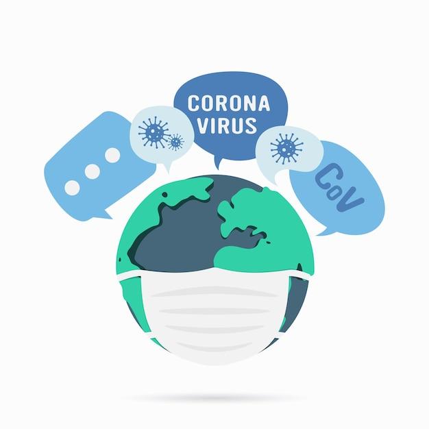 Planeta terra com uma máscara médica. coronavírus no conceito de mundo.