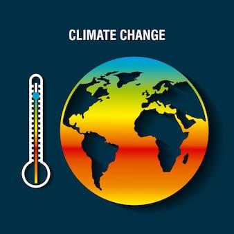 Planeta terra doente com termômetro aquecimento conceito