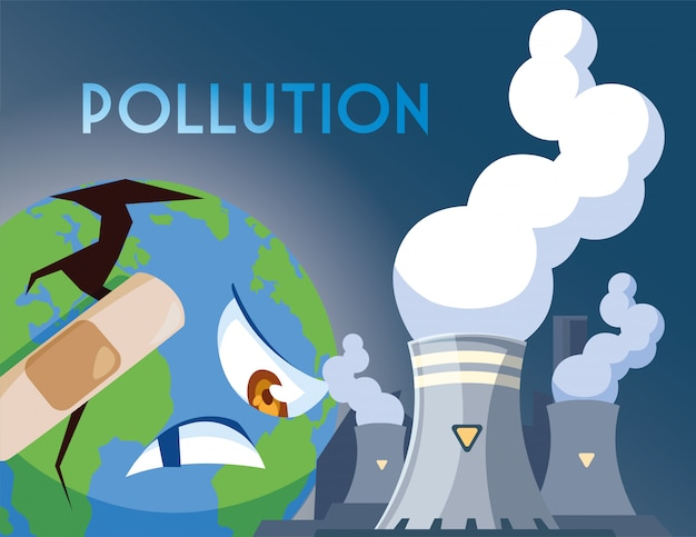 Planeta terra doente de poluição