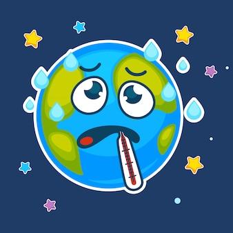 Planeta terra dos desenhos animados doente com termômetro de vetor