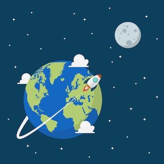 Planeta terra e lua no espaço