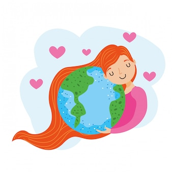 Planeta terra e menina.