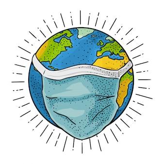 Planeta terra em azul máscara médica. gravura vintage