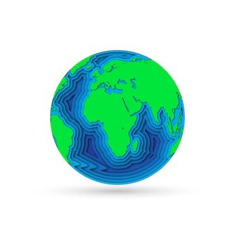 Planeta terra em corte de papel. ilustração.