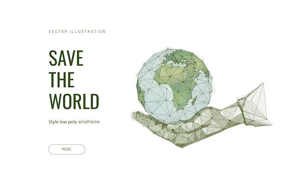 Planeta terra em uma mão humana